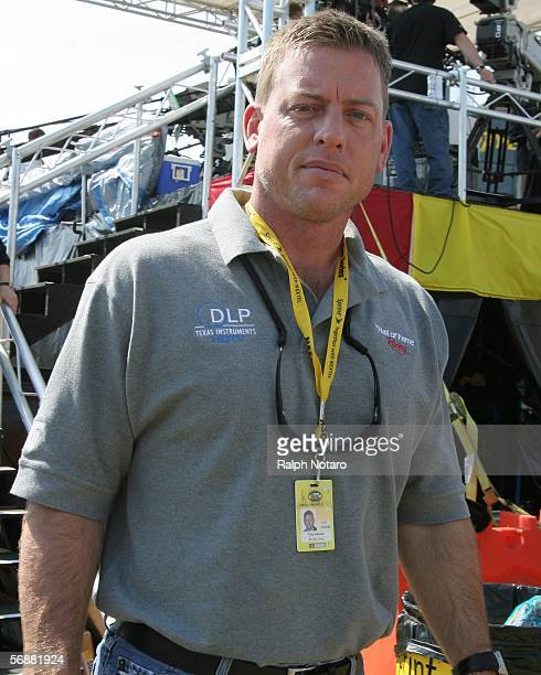 Retired NFL quarterback Troy Aikman attends the NASCAR Busch Series Hershey's Kissables 300 to appear on ESPN at Daytona International Speedway on...