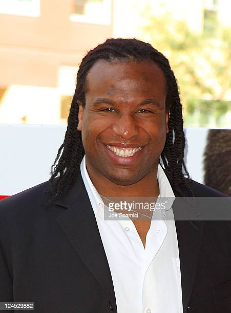 Retired NHL Player Georges Laraque arrives at the Goon Premiere at Ryerson Theatre during the 2011 Toronto International Film Festival on September...
