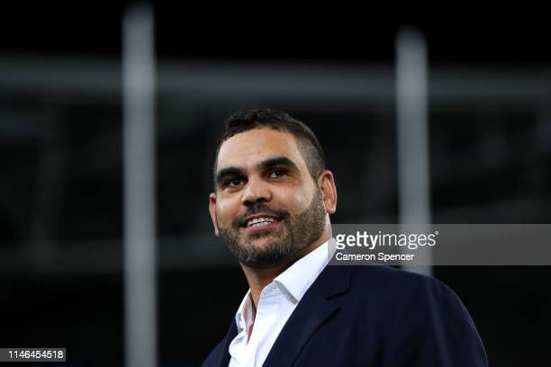 Retired NRL player Greg Inglis shows his emotion after watching a career highlights package before the round eight NRL match between the South Sydney...