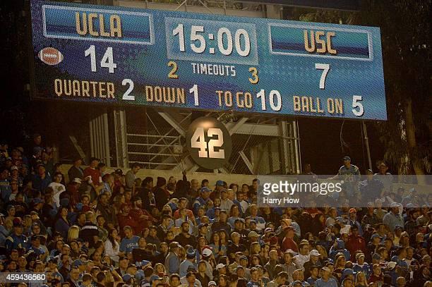 Retired number of Jackie Robinson hangs at the Rose Bowl on November 22 2014 in Pasadena California