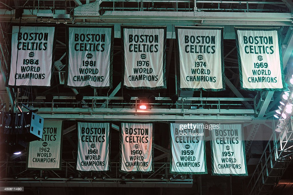 Retired numbers and championship banners hang on the ceiling during ... 843e8871c