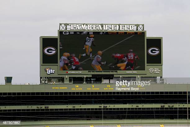 Retired numbers of former players are displayed at the North End of Lambeau Field home of the Green Bay Packers football team on August 31 2015 in...
