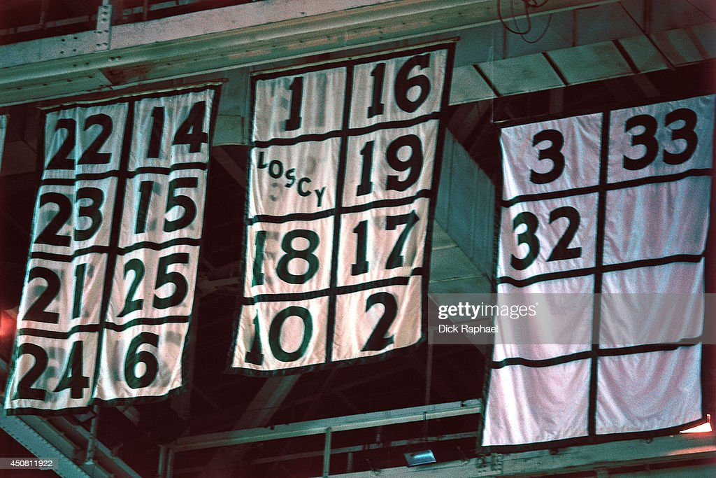 Retired Numbers of the Boston Celtics hang on the ceiling during a ... 6e93986db