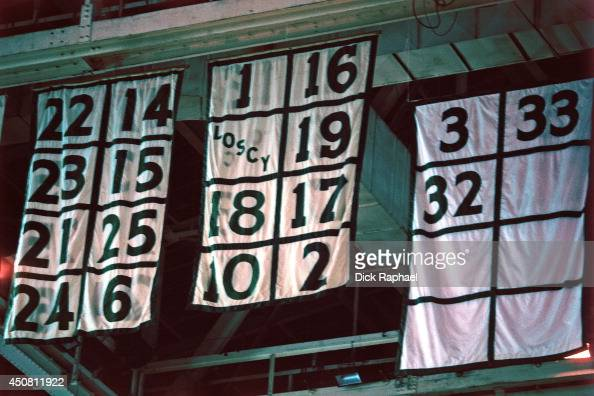 Retired Numbers of the Boston Celtics hang on the ceiling during a... News  Photo  cf8d26f48