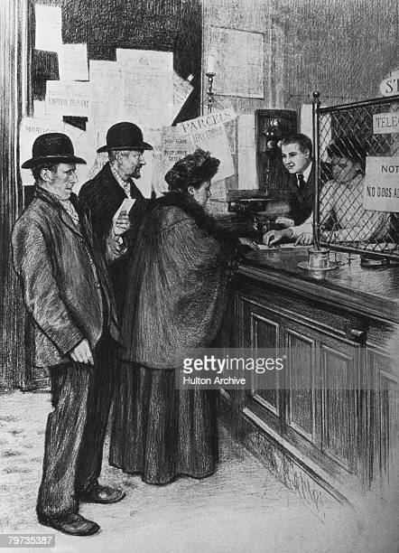 Retired people collect their old age pensions from a post office after the 1908 Old Age Pensions Act came into force in Britain in 1909 The Act...