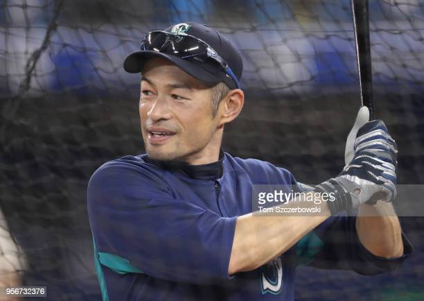 Retired player Ichiro Suzuki of the Seattle Mariners takes batting practice before the start of MLB game action against the Toronto Blue Jays at...