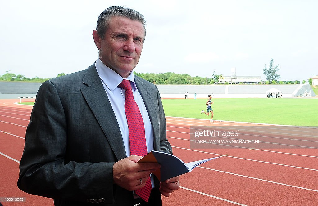 Retired pole vaulter and International Association of Athletics Federations (IAAF) Senior Vice President Sergei Bubka visits a new athletics stadium in Homagama, just outside the Sri Lankan capital Colombo, on May 8, 2010. The new ground was shown to Bubka as Sri Lanka tries to improve its citizens access to sports facilities. AFP PHOTO/Lakruwan WANNIARACHCHI