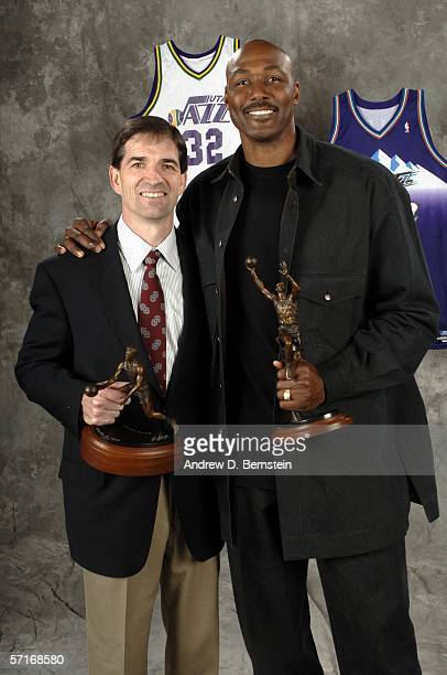 Retired power forward Karl Malone poses with John Stockton after the unveiling his statue commissioned by Utah Jazz owner Larry H Miller on March 23...