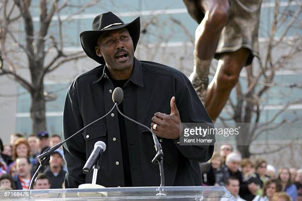 Retired powerfoward Karl Malone speaks at the unveiling of the statue commissioned by the Utah Jazz owner Larry H Miller on March 23 2006 at the...