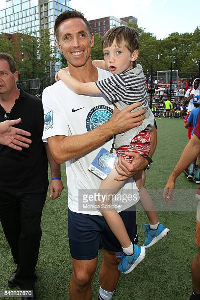 Retired professional basketball player and founder of the Steve Nash Foundation Steve Nash and son Matteo Joel Nash attend the 2016 Steve Nash...