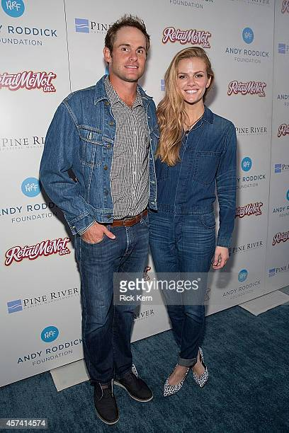 Retired professional tennis player Andy Roddick and his wife model Brooklyn Decker arrive at the 9th Annual Andy Roddick Foundation Gala at ACL Live...