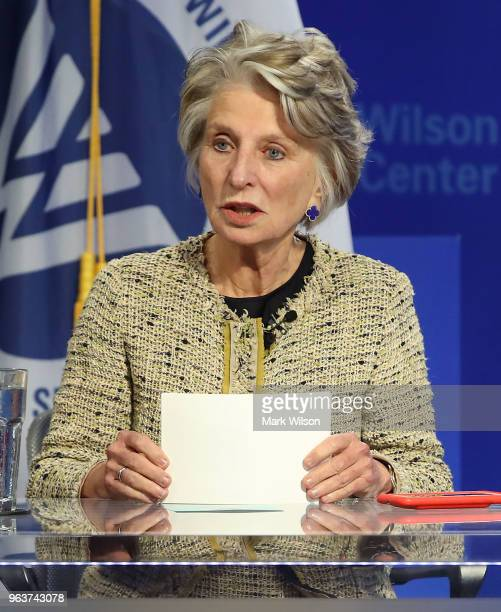 Retired Rep Jane Harman president of the Woodrow Wilson Center moderates a forum to discuss the US decision to withdraw from the Iran nuclear deal...