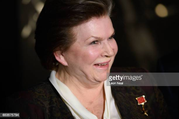 Retired Russian cosmonaut Valentina Tereshkova speaks to journalists ahead of an event at the Science Museum on March 15 2017 in London England In...