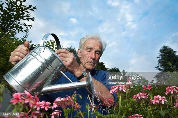 Retraité senior arroser les fleurs