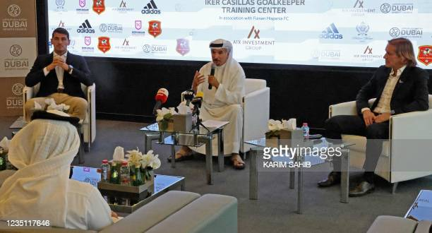 Retired Spanish football player and goalkeeper Iker Casillas, Secretary General of the Dubai Sports Council Mohammed Saeed Harib, and retired Spanish...