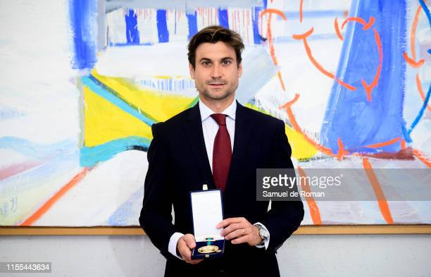 Retired Spanish professional tennis player David Ferrer receives a Golden Medal of Sports Merit on June 12 2019 in Madrid Spain