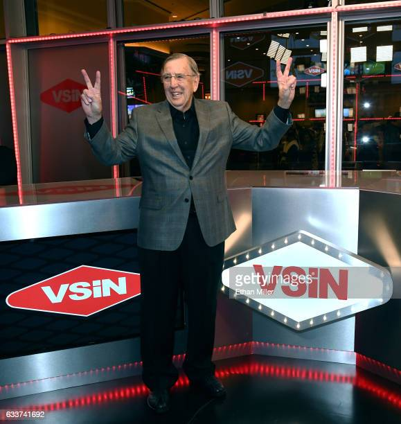 Retired sportscaster and VSiN managing editor and lead host Brent Musburger unveils the VSiN broadcasting studio at the South Point Hotel Casino...