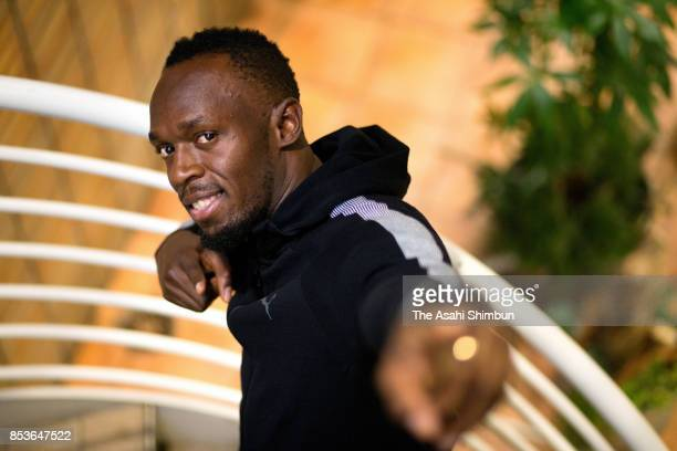 Retired sprinter Usain Bolt poses for photographs during the Asahi Shimbun interview on September 6 2017 in Tokyo Japan