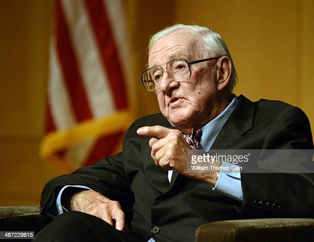 Retired Supreme Court Justice John Paul Stevens answers a question posed by Brooke Gladstone , Host and Managing Editor of National Public Radio...