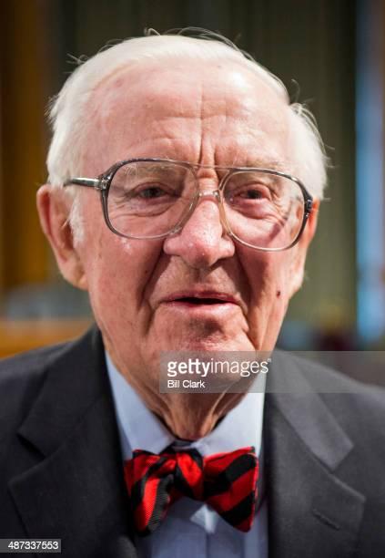 Retired Supreme Court Justice John Paul Stevens speaks after receiving the Paul H Douglas Award for Ethics in Government in the Dirksen Senate Office...
