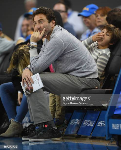 Retired tennis player and former Tennis Channel commentator Justin Gimelstob attends the game between the UCLA Bruins and the Denver Pioneers at...