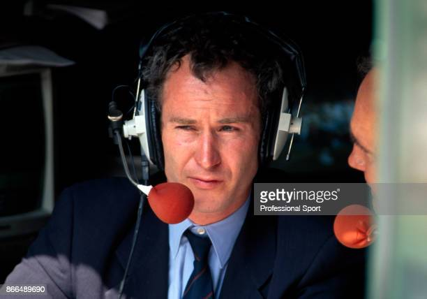 Retired tennis player John McEnroe of the USA commentating at the Wimbledon Lawn Tennis Championships at the All England Lawn Tennis and Croquet Club...