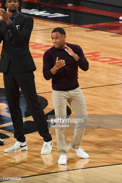 Retired Toronto Raptors Legens Damon Stoudamire is honored during Game One of the NBA Finals on May 30 2019 at Scotiabank Arena in Toronto Ontario...