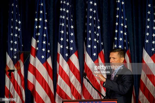 Retired United States Army lieutenant general Michael T Flynn introduces Republican Presidential nominee Donald J Trump before he delivered a speech...