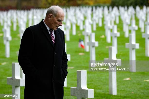 Retired United States Marine Corps general and White House Chief of Staff John F Kelly visits the AisneMarne American Cemetery and Memorial in...