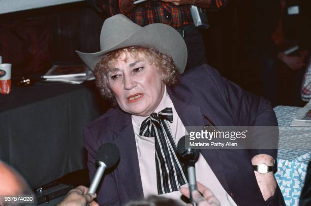Retired United States Representative Bella Abzug of New York wears a cowboy hat while she is interviewed at 'The Gay Radio.'