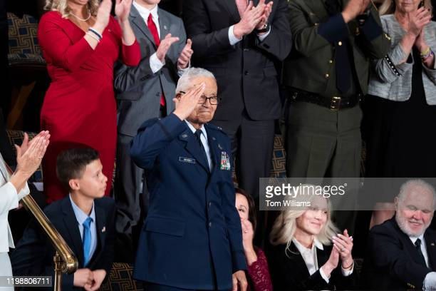 Retired U.S. Air Force Col. Charles McGee a Tuskegee Airman, is recognized during President Donald Trumps State of the Union address in the House...