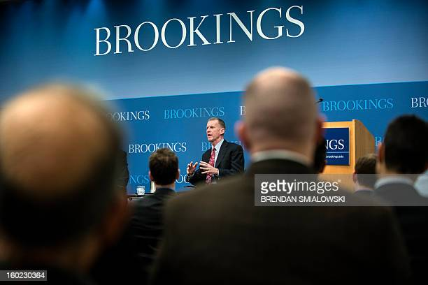 Retired US Army General Stanley McChrystal speaks during a discussion at the Brookings Institution January 28 2013 in Washington DC McChrystal who...