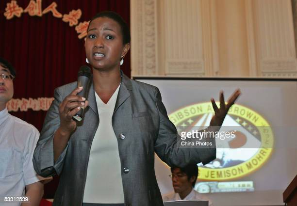 Retired US astronaut Mae C Jemison delivers a speech as she visits the Shanghai Children's Palace on August 1 2005 in Shanghai China The three...