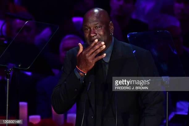 "Retired US basketball player Michael Jordan cries as he speaks during the ""Celebration of Life for Kobe and Gianna Bryant"" service at Staples Center..."