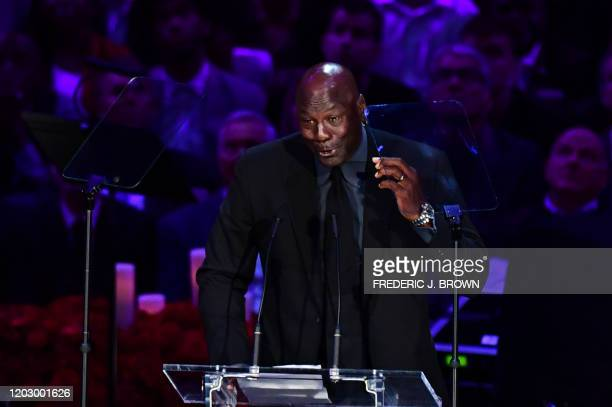Retired US basketball player Michael Jordan speaks during the Celebration of Life for Kobe and Gianna Bryant service at Staples Center in Downtown...