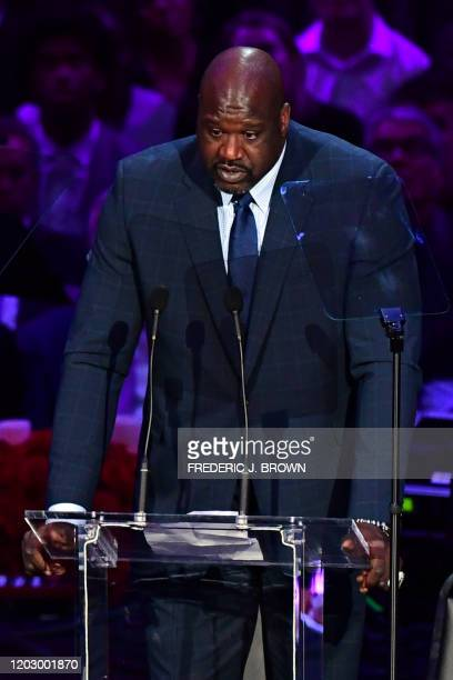 Retired US basketball player Shaquille O'Neal speaks during the Celebration of Life for Kobe and Gianna Bryant service at Staples Center in Downtown...
