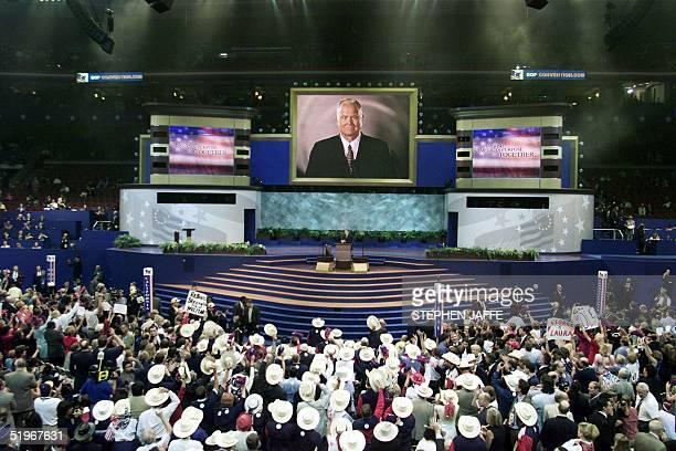Retired US General Norman Schwarzkopf commander of Desert Storm during the war against Iraq is be seen on the big screen as he speaks via satellite...
