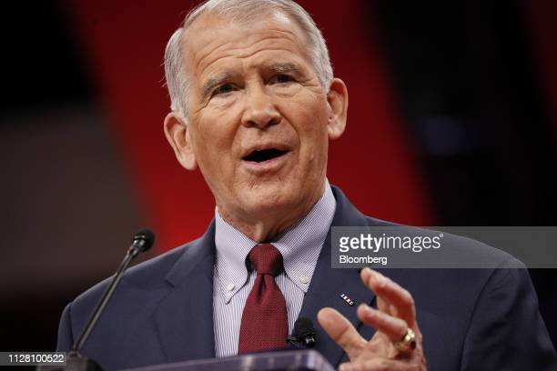Retired US Marine Corps Lieutenant Colonel Oliver North president of the National Rifle Association speaks during the Conservative Political Action...