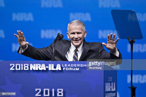 Retired US Marine Corps Lieutenant Colonel Oliver North speaks during the National Rifle Association Institute for Legislative Action Leadership...