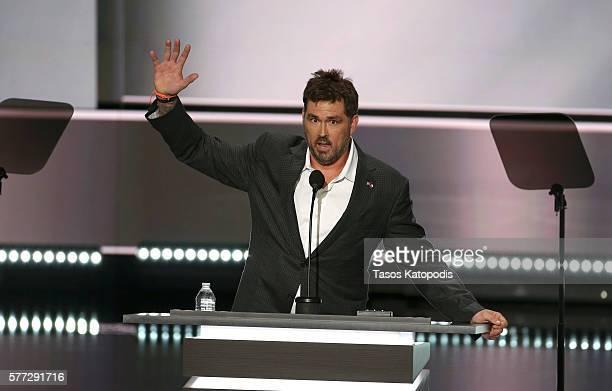 Retired US Navy Seal Marcus Luttrell speaks during the first day of the Republican National Convention on July 18 2016 at the Quicken Loans Arena in...