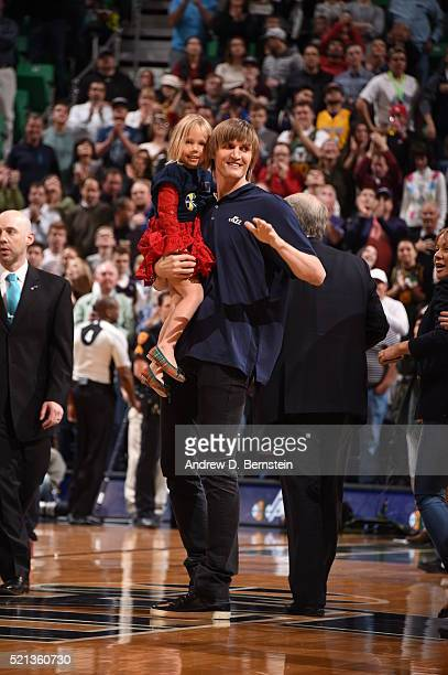 Retired Utah Jazz player Andrei Kirilenko is seen during the game against the Los Angeles Lakers at vivintSmartHome Arena on March 28 2016 in Salt...