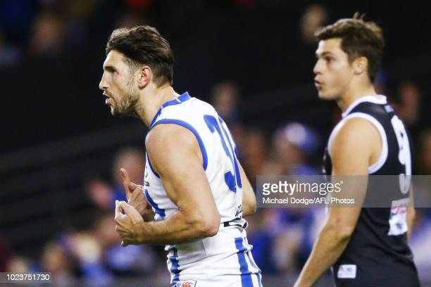 Retiree Jarrad Waite of the Kangaroos celebrates a goal during the round 23 AFL match between the St Kilda Saints and the North Melbourne Kangaroos...
