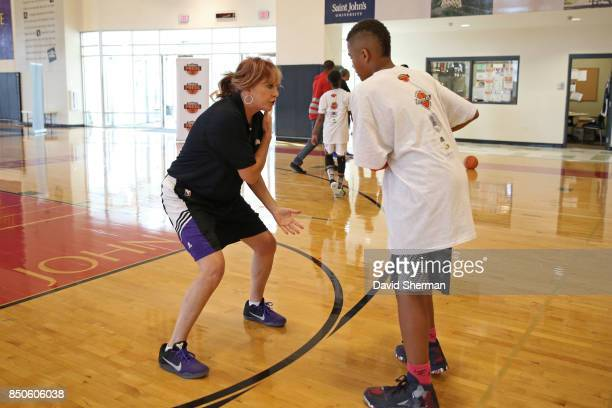 WNBA retiree Nancy Lieberman helps host a youth clinic for the NBA and WNBA Retired Players Association on September 16 2017 at Urban Ventures in...