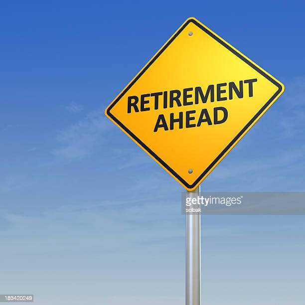 retirement ahead - road warning sign - give way stock pictures, royalty-free photos & images