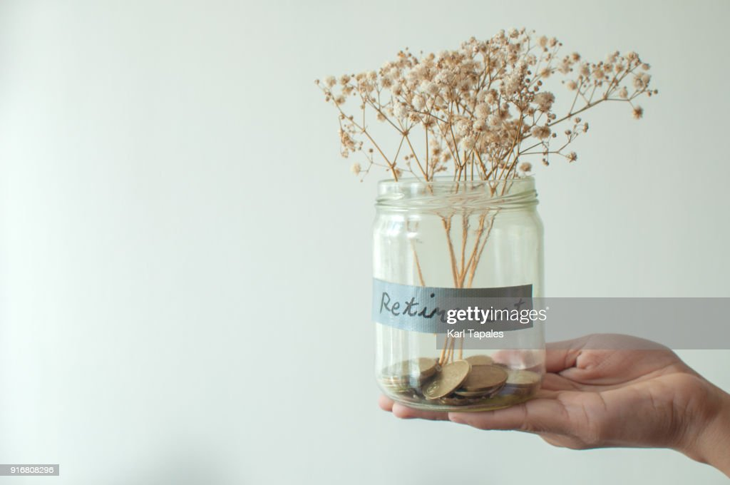 A retirement concept jar with coins and dried plant : Stock Photo