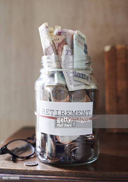 retirement fund in glass jar