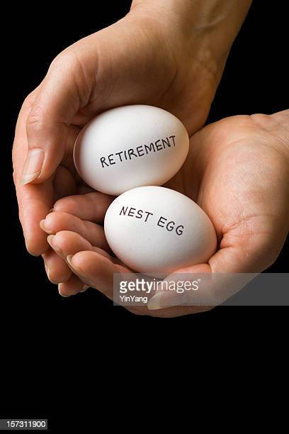 Retirement Nest Egg, Pension Savings and Investment Finances in Hands