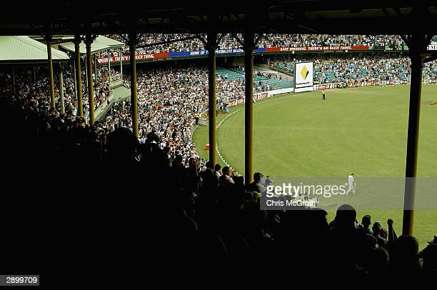 Retiring Australian captain Steve Waugh walks to the wicket to bat for the last time during day five of the 4th Test between Australia and India at...