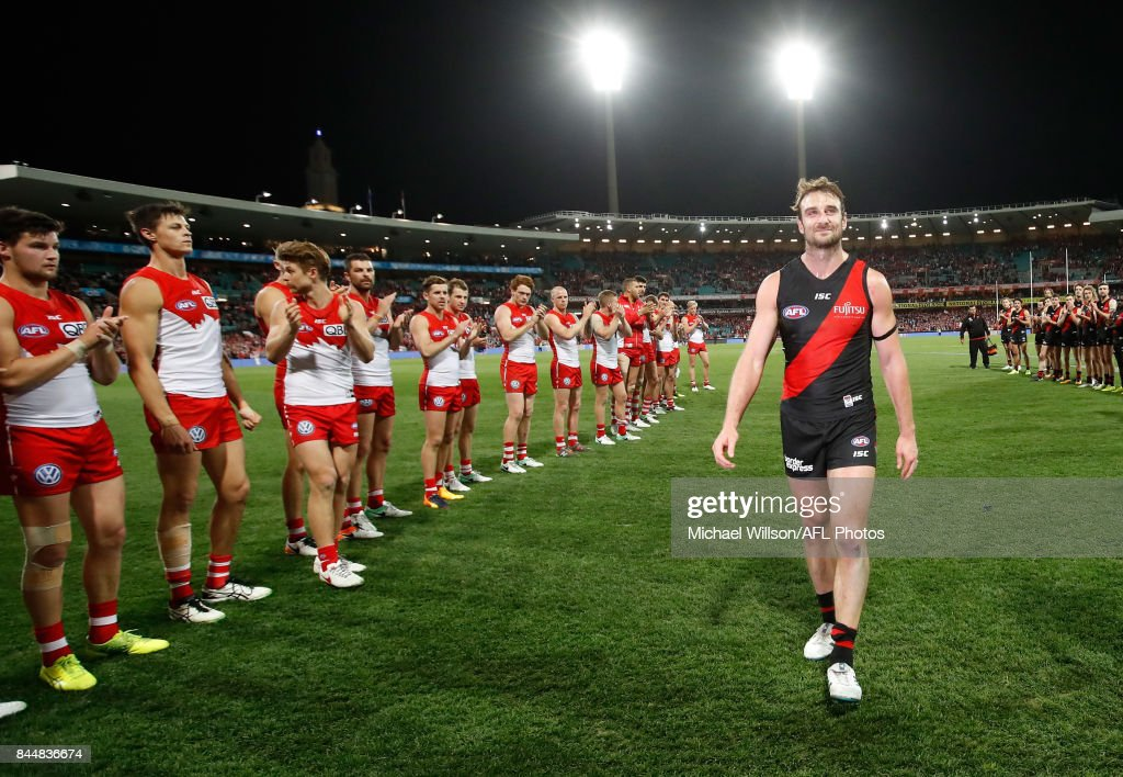 Retiring Bomber Jobe Watson leaves the field during the AFL Second Elimination Final match between the Sydney Swans and the Essendon Bombers at Sydney Cricket Ground on September 9, 2017 in Sydney, Australia.