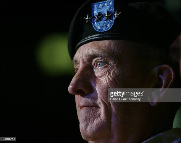 Retiring Commander of CENTCOM Gen Tommy Franks attends his changeofcommand ceremony July 7 2003 in Tampa FL Franks is being replaced by General John...